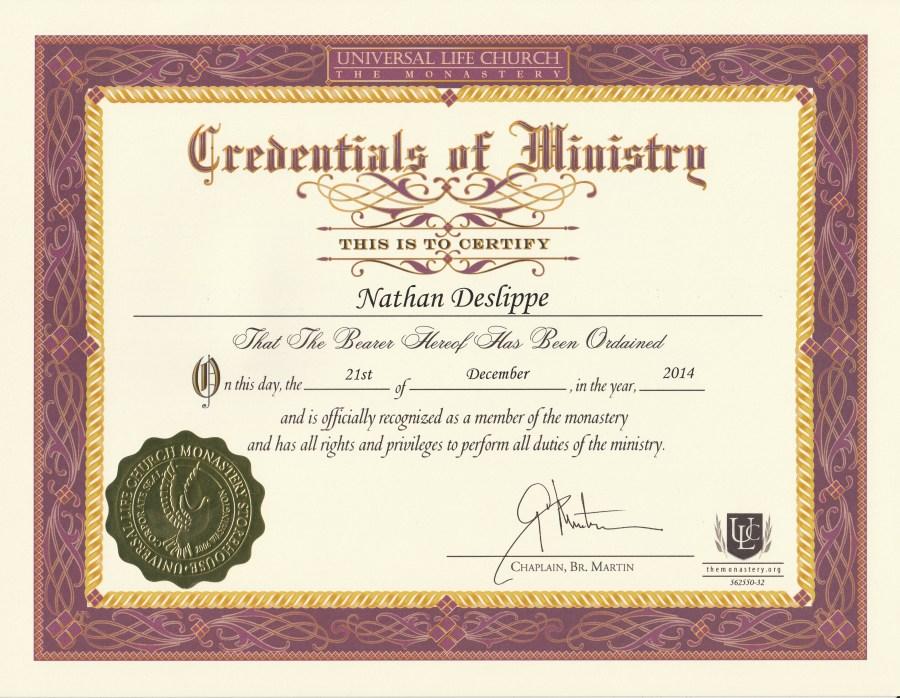 Ministry cert